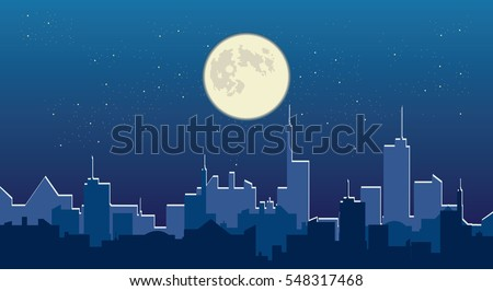 Night sky and full moon over city vector silhouette cityscape illustration