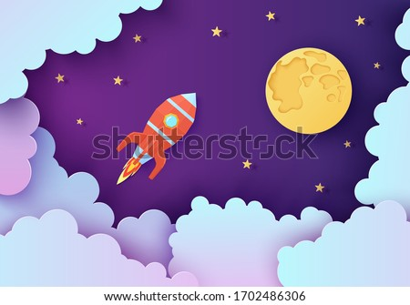 Night sky and red rocket in paper cut style. Cut out 3d background with violet and blue gradient cloudy landscape with stars and full moon papercut art. Cute vector origami clouds and spaceship.