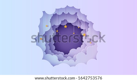 Night sky clouds round frame with stars on rope in paper cut style. Cut out 3d background with violet and blue gradient cloudy landscape papercut art. Vector card for wish good night sweet dreams