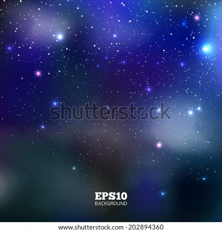 Night sky. Colorful Universe filled with stars, nebula and galaxy. Vector illustration