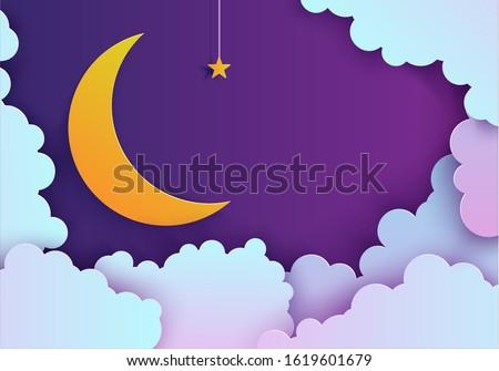 Night sky in paper cut style. Cut out 3d background with violet and blue gradient cloudy landscape with star on rope and moon papercut art. Cute origami clouds. Vector good night card.