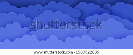 Night sky in paper cut style. 3d background with dark cloudy landscape papercut art. Cute horizontal banner by cardboard origami clouds. Vector card for wish good night sweet dreams