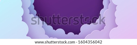 Night sky panorama in paper cut style. Cut out 3d horizontal background with violet and blue gradient cloudy landscape papercut art. Cute origami clouds. Vector card for wish good night sweet dreams.