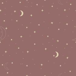 Night sky pattern. Yellow moon, yellow stars, brown background.