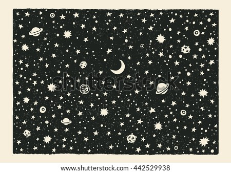 night sky space with stars and