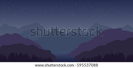 night sky stars  hills and