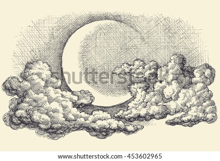 night sky vector  moon in the
