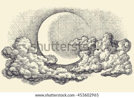night sky vector  moon in the