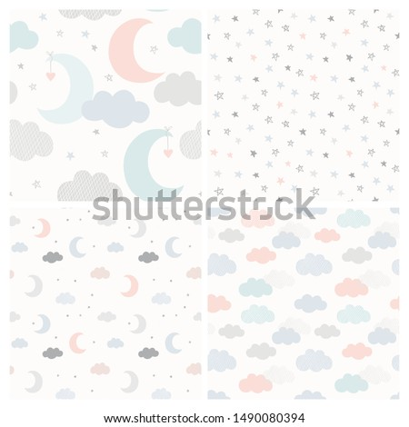 Night sky vector pattern set with hand drawn stars, clouds and moon. Collection of cute seamless baby background in delicate pastel colors.