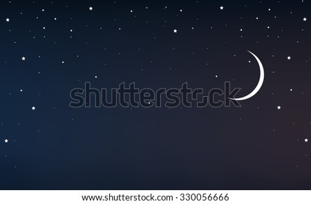 night sky with a crescent moon