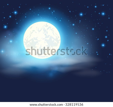 night sky with a full moon and