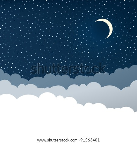 Night sky with clouds (isolated copyspace), stars and crescent moon.