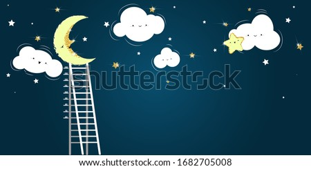 Night sky with moon. clouds, gold stars and ladder with growth meter. Wallpaper for kids room.