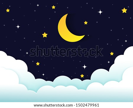 night sky with stars and moon. paper art style.Vector of a crescent moon with stars on a cloudy night sky. Moon and stars background.Vector EPS 10.