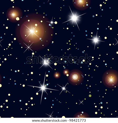 Night Sky with Stars  Seamless vector background, wallpaper - stock vector