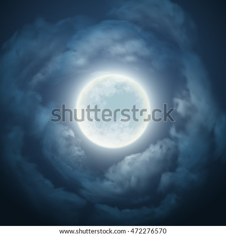 night sky with the moon and