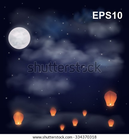 night sky with the moon  stars