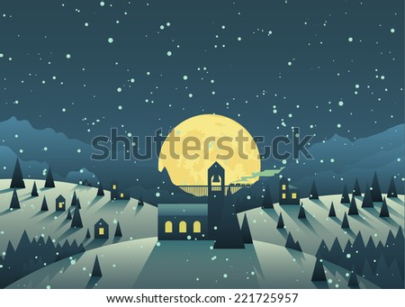 night snowfall in a cute little