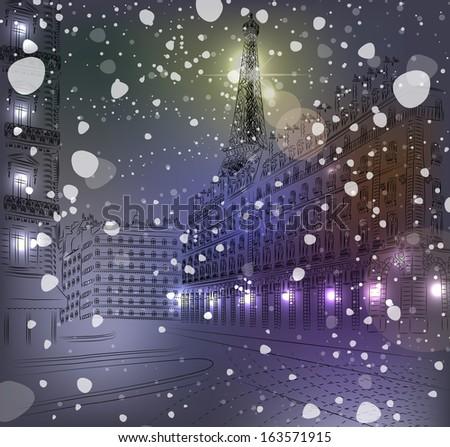 night snowy christmas paris