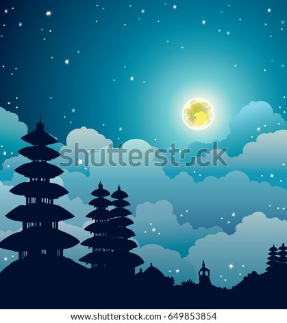 night starry landscape with