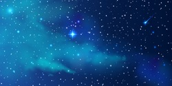 Night starry sky, a beautiful space with a nebula. Abstract background with stars, space. Vector illustration for banner, brochure, web design