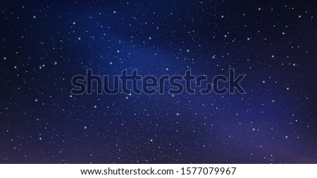 Night starry sky, blue shining space. Abstract background with stars, cosmos. Vector illustration for banner, brochure, web design