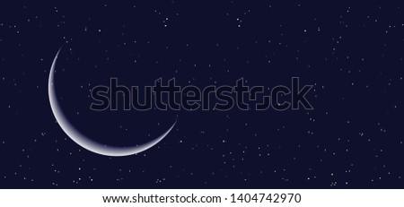 night starry sky half full moon
