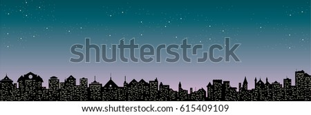 night starry sky over city