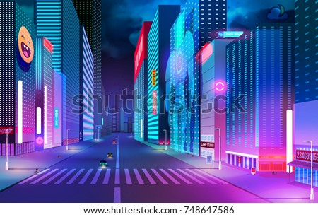 night street with neon lights