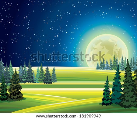 night summer landscape with
