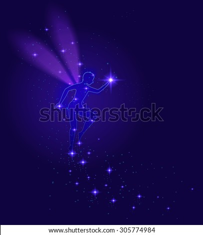 Night transparent fairy with  shiny star sparkle, night dream, vector