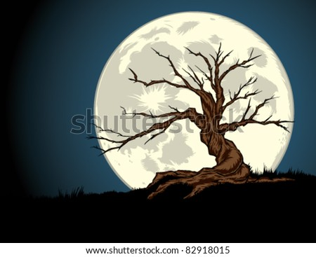 Night tree with full moon — color.