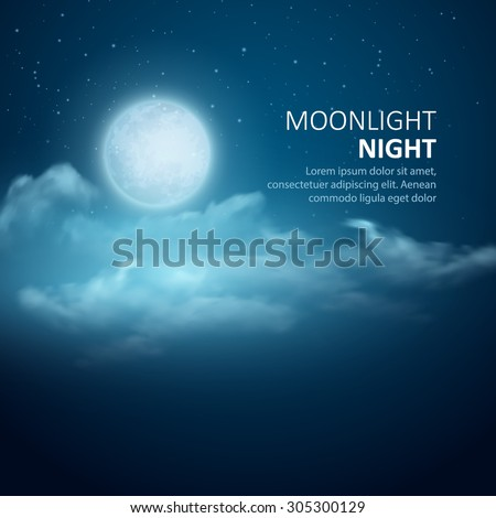 night vector background  moon