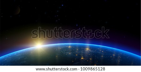 Night view of Earth from the satellite to the glowing lights of cities on the sunrise from the east. Outer space. Realistic vector illustration.