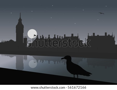 night view of london with river