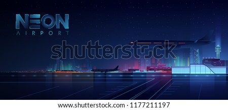 Night view of the airport. Passenger airplanes on the night city background. Neon futuristic cityscape