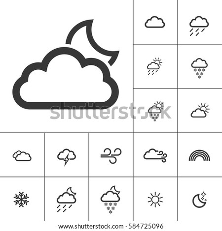 night. Weather Icons with White Background