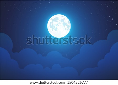 Night with Full Moon - Beautiful vector wallpaper, background illustration with landscape in dark blue color. Sky panorama with stars and clouds and copy space.