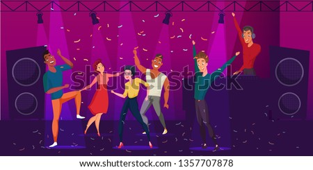 Nightclub discotheque flat color illustration. Group of young people dancing cartoon characters. Dance party, disco vector drawing. DJ stage performance. Men and women enjoying clubbing night