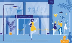 Nightclub Entrance. Cartoon Woman Celebrity Star Posing Outside Club Building, People Fan Take Photo Mobile Phone Paparazzi Vector Illustration. Dance Party Night. Concert, Club, Disco