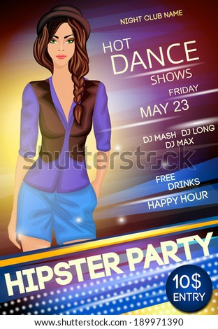 Nightclub hipster party sexy long legged girl in hat and black gilet show event poster vector illustration
