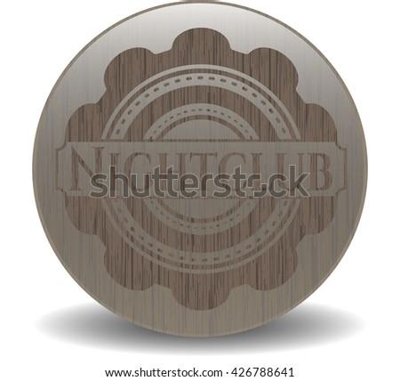 Nightclub retro style wooden emblem