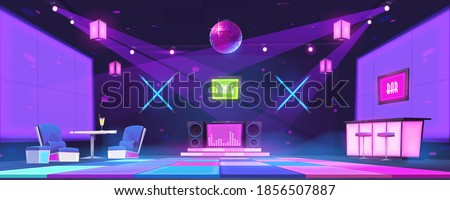 Nightclub with bar counter, tables, dj console and dance floor illuminated by disco ball and spotlights. Vector cartoon interior of night party in dance club with glowing scene and neon lamps