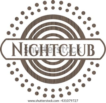 Nightclub wooden emblem. Retro