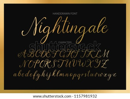 Nightingale. Handdrawn calligraphic vector font. Modern gentle calligraphy.