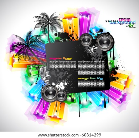 NightLife Disco Event Background with Rainbow Stars and Music Elements
