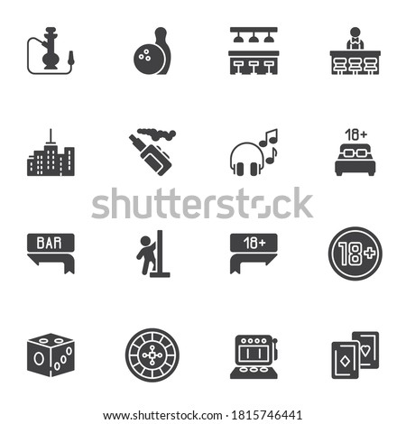 nightlife party vector icons