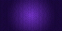 Nightly brick wall. Purple background for neon lights. Vector illustration.