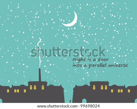 nighttime cityscape with stars and moon