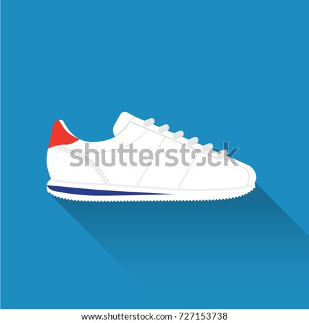 Nike Cortez without logo. Sport wear for men and women. Flat design. Vector illustration.